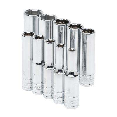 1/4 in. Drive Deep Metric Socket Set (10-Piece)
