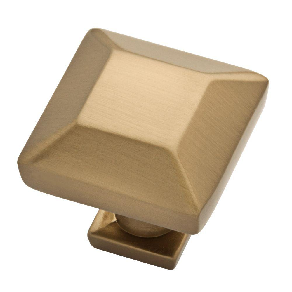 Beveled Square 1 in. (26mm) Champagne Bronze Cabinet Knob
