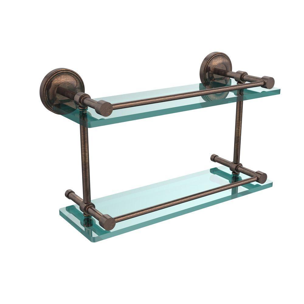 Prestige Regal 16 in. L x 8 in. H x 5 in. W 2-Tier Clear Glass Bathroom Shelf with Gallery Rail in Venetian Bronze
