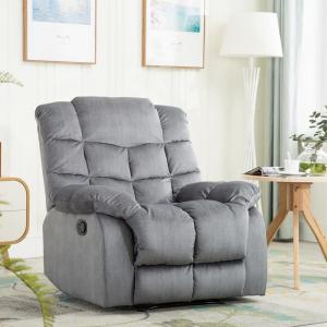 Blue Gray Recliner Chair Modern Reclining Sofa with Quilted Padded Backrest Manual Recliner Heavy Duty
