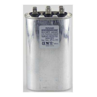 440-Volt 35/5 MFD Dual Rated Motor Run Oval Capacitor