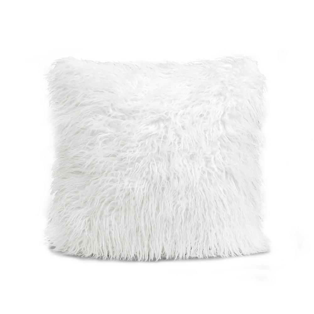 Luca White Single 18 in. x 18 in. Decorative Pillow