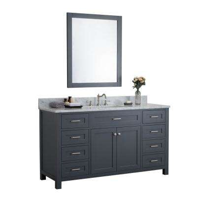 Norwalk 60 in. W x 34.2 in. H x 22 in. D Vanity in Gray with Marble Vanity Top in White with White Basin