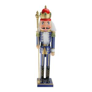 24 in. Blue Wooden Christmas Nutcracker King with Scepter