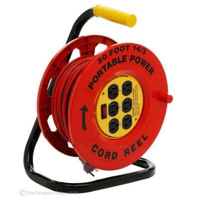 50 ft. 14/3 Red Cord Reel with 6 Outlets