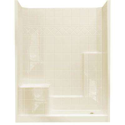 32 in. x 60 in. x 77 in. Standard Low Threshold 3-Piece Shower Kit in Biscuit with Left Seat and Right Drain