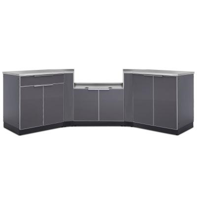 Slate Gray 7-Piece 145.25 in. W x 36.5 in. H x 24 in. D Outdoor Kitchen Cabinet Set