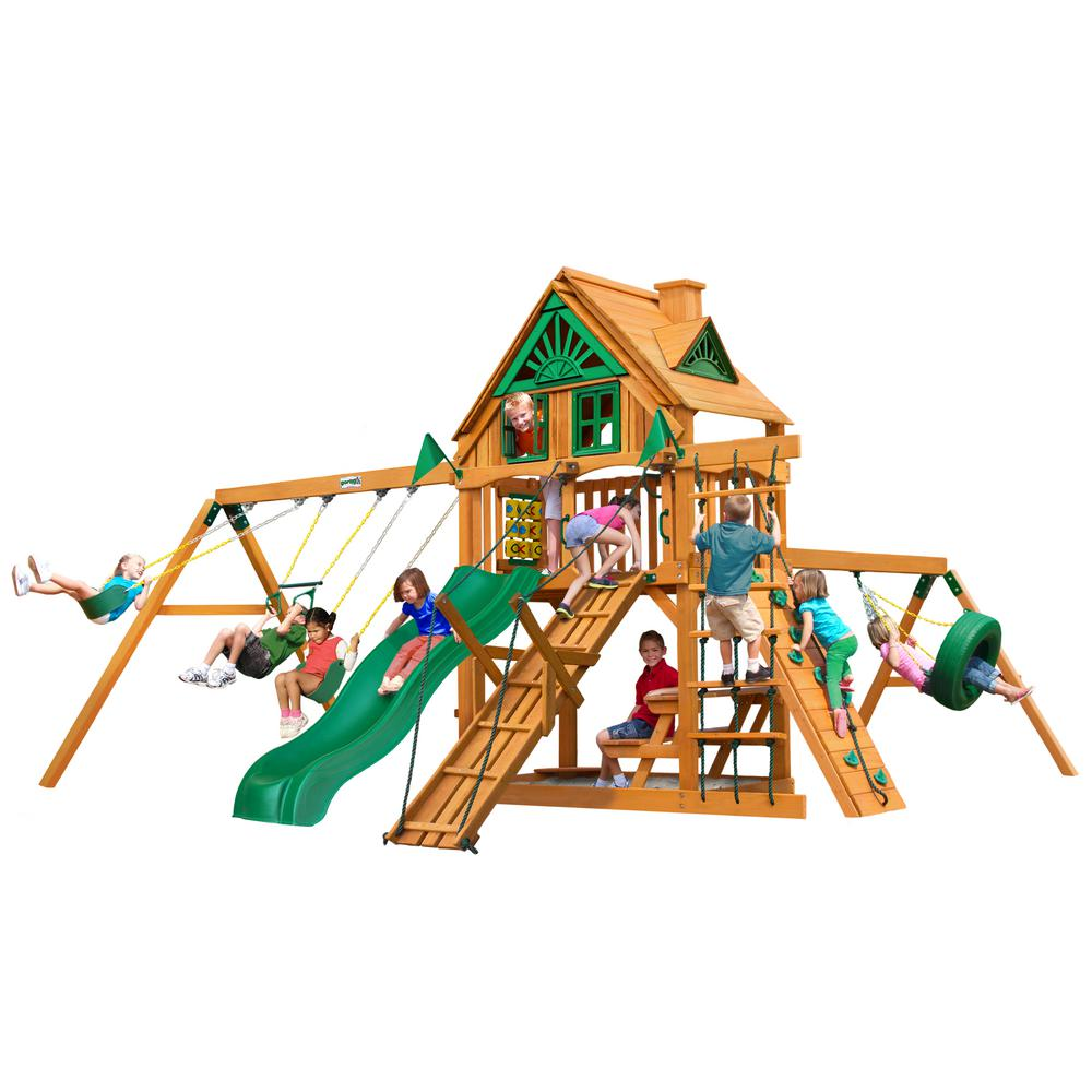 Frontier Treehouse Wooden Playset With Tire Swing And Rock Picnic Table