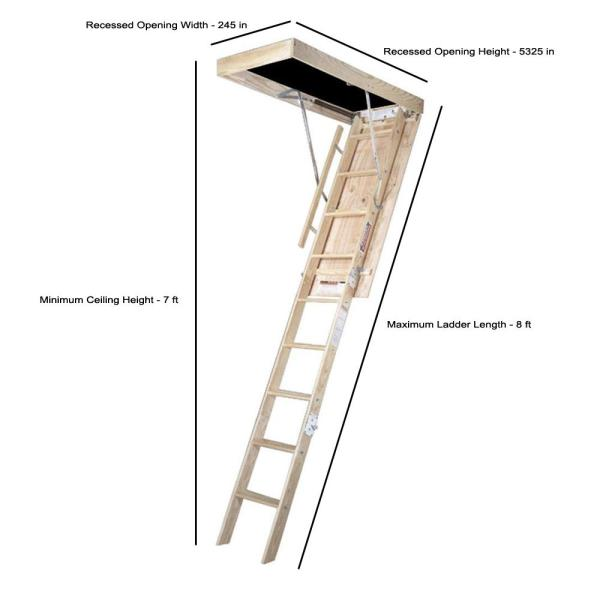 Werner 8 Ft 25 In X 54 In Wood Attic Ladder With 350 Lb Maximum Load Capacity Wh2508 The Home Depot