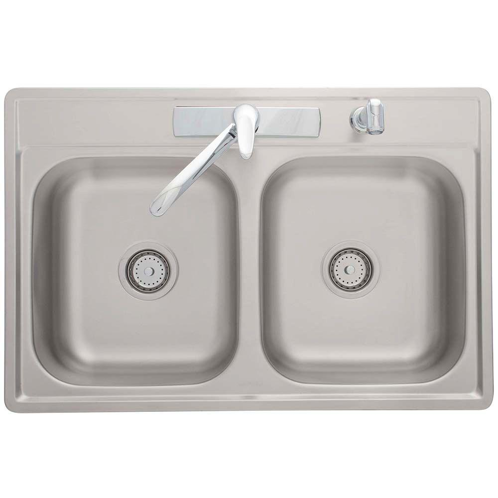 Franke drop in stainless steel 33x22x7 4 hole double basin for Best faucet for kitchen sink
