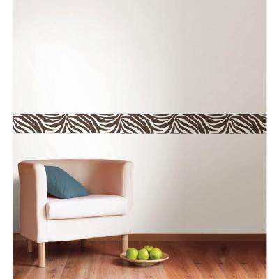 6.5 in. x 16 ft. Brown And White Animal Instinct Stripe Wall Decal