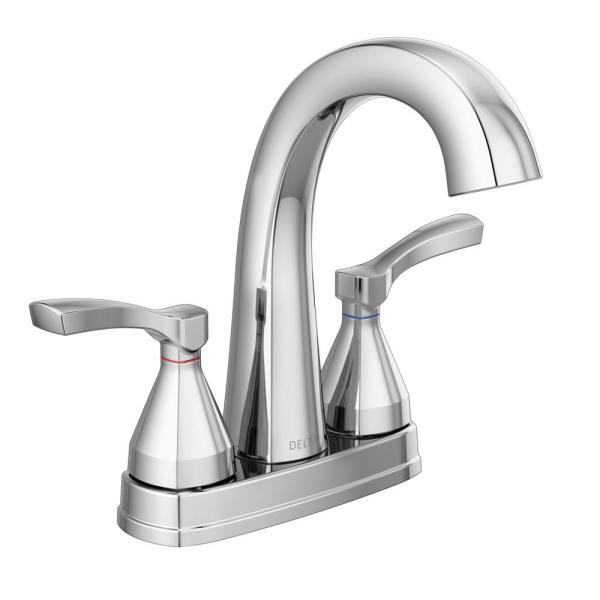 Stryke 4 in. Centerset 2-Handle Bathroom Faucet with Metal Drain Assembly in Chrome