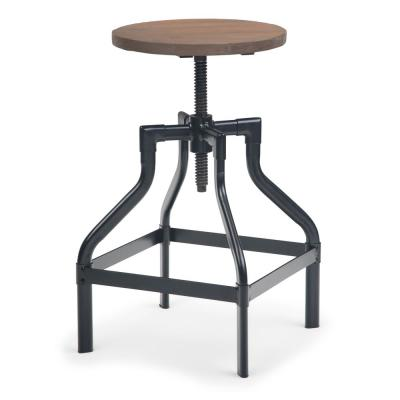 Conley 24 in. Cocoa Brown Industrial Metal Counter Stool with Wood