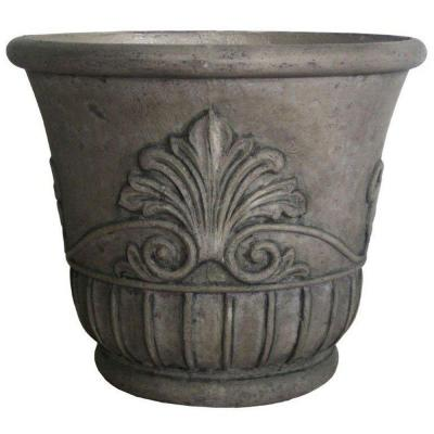 19 in. D Special Aged Granite Cast Stone Italian Leaf Pot