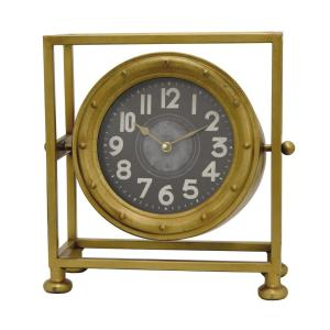 THREE HANDS 13.75 inch x 6.25 inch Metal Table Clock in Gold by THREE HANDS