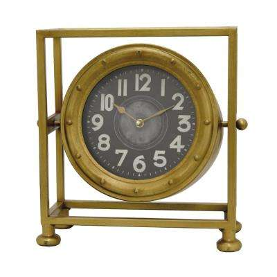 13.75 in. x 6.25 in. Metal Table Clock in Gold