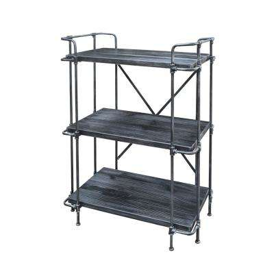 Eden Industrial Brushed Dark Gray 3-Tier Fir Wood Shelf with Pewter Iron Frame