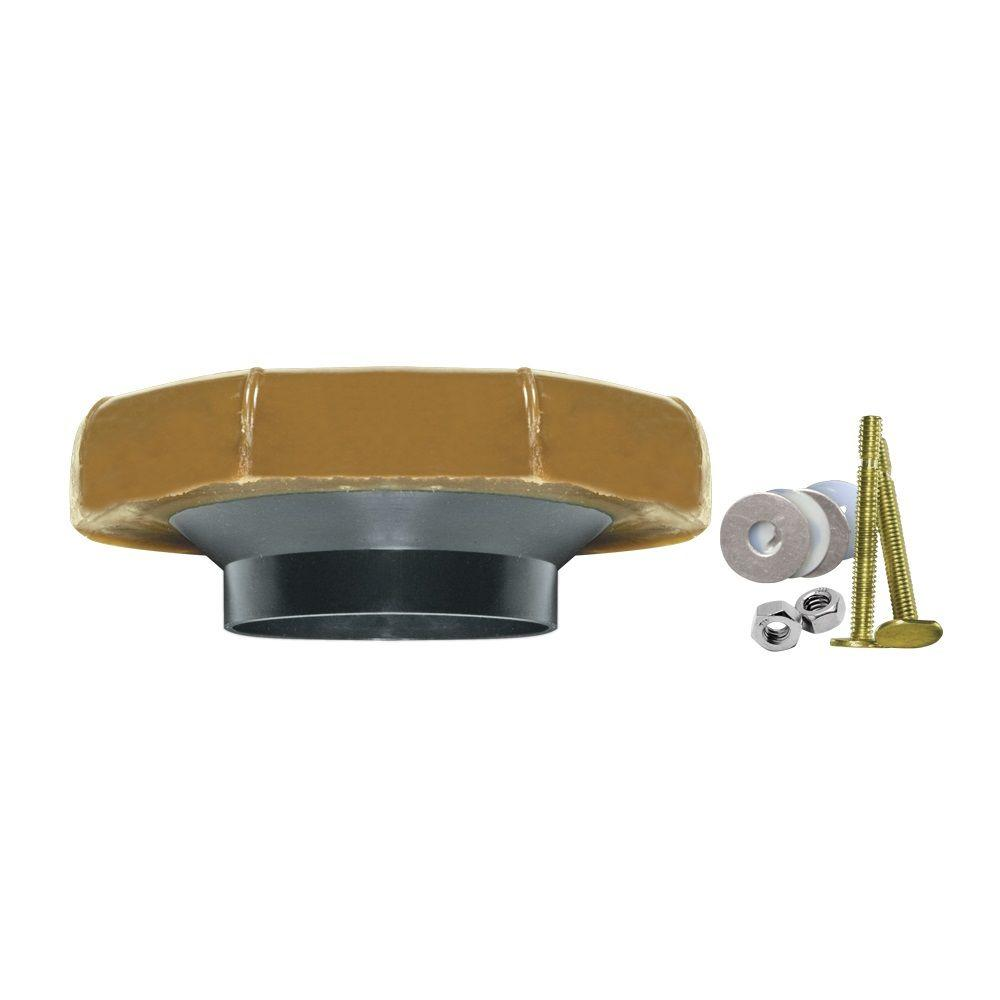 Fluidmaster Reinforced Wax Toilet Bowl Gasket with Flange and Bolts