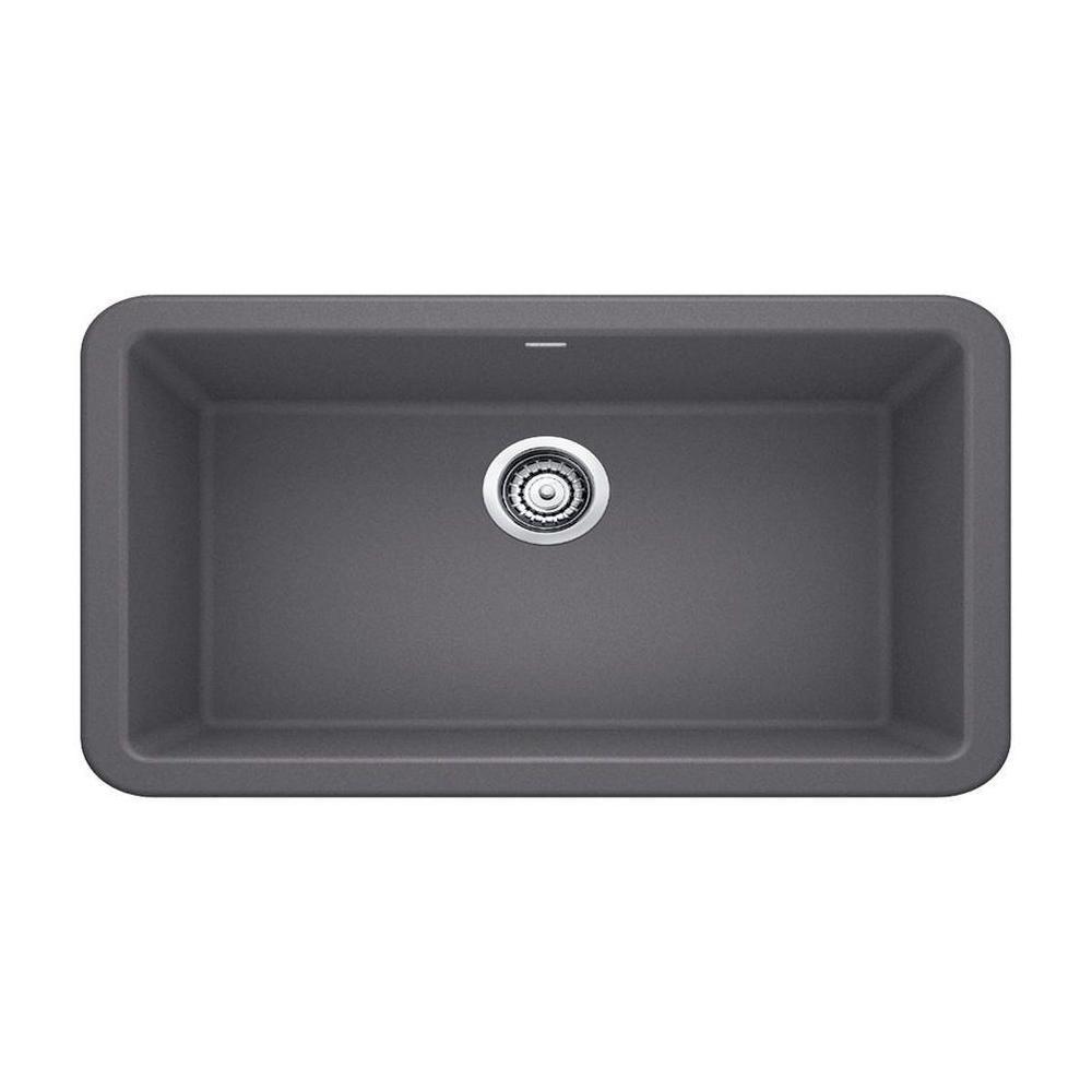 Ikon Apron-Front Granite 33 in. x 19 in. Single Bowl Kitchen Sink in Cinder
