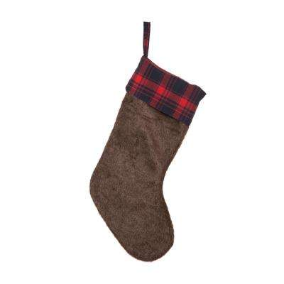 19 in. L Plush Stocking with Plaid Cuff