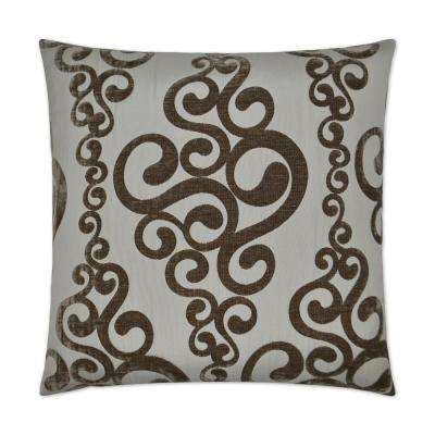 Harpo Taupe Feather Down 24 in. x 24 in. Standard Decorative Throw Pillow