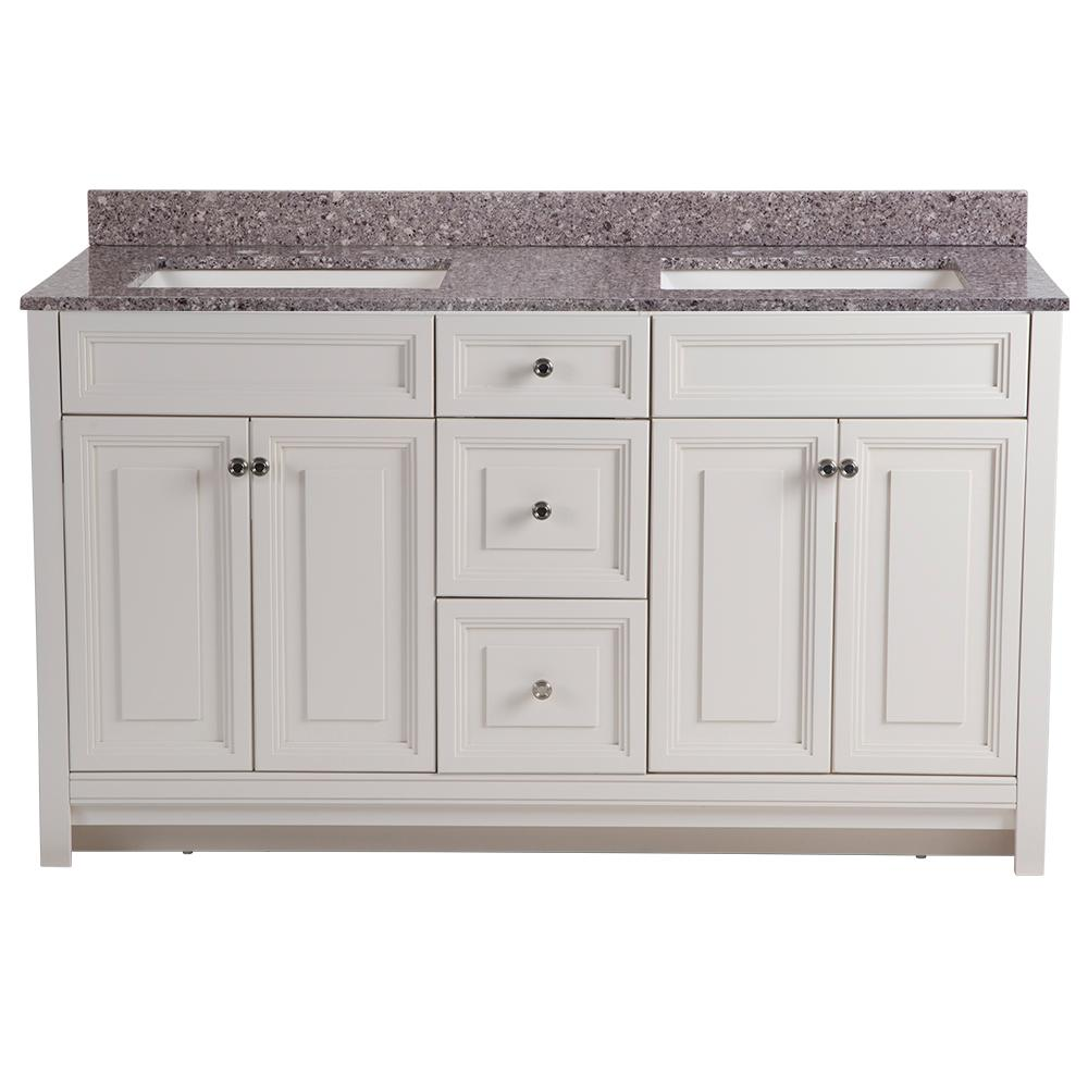 Home Decorators Collection Brinkhill 61 in. W x 22 in. D Bathroom Vanity in Cream with Stone Effect Vanity Top in Mineral Gray with White Sink