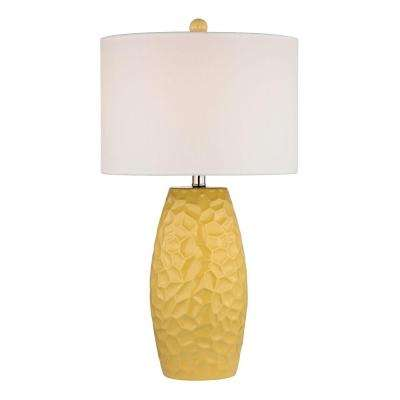 27 in. Sunshine Yellow Ceramic Table Lamp with White Linen Shade
