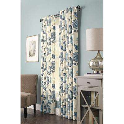 Semi-Opaque Indigo Floral Cottage Tab Top Curtain - 54 in. W x 95 in. L (1 Panel)
