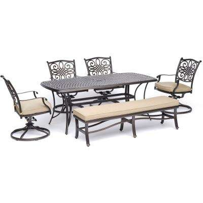 Traditions 6 Piece Aluminum Outdoor Dining Set With 4 Swivel Rockers Cushioned Bench And