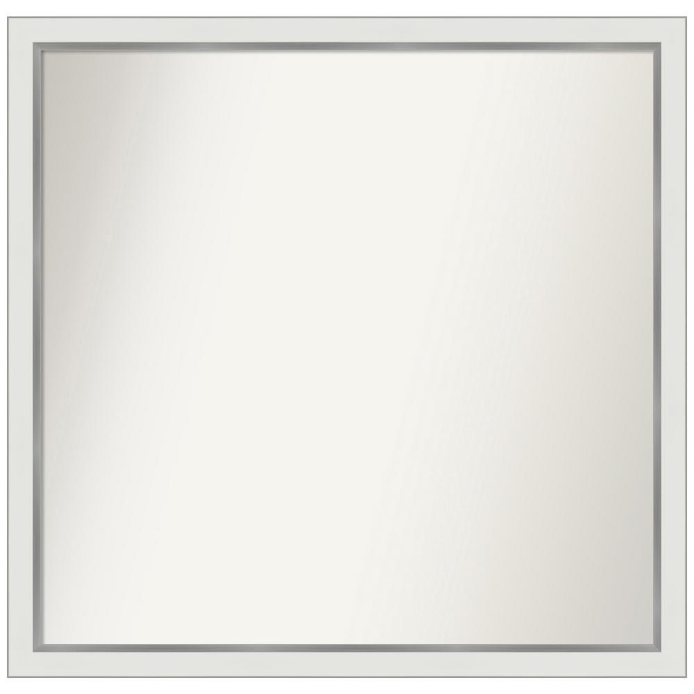 Medium Rectangle Satin White Silver Casual Mirror (36.12 in. H x 37.12 in. W)