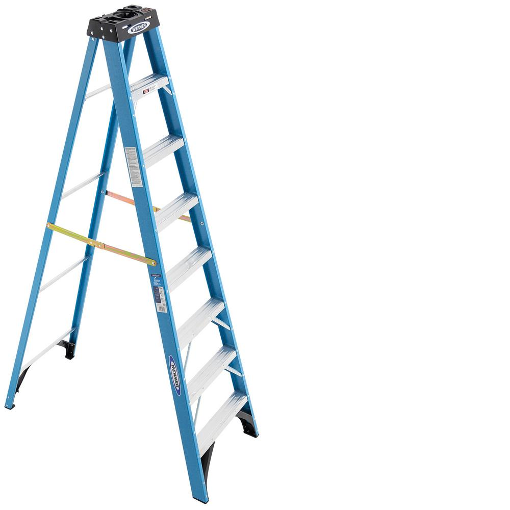 Werner 8 Ft Fiberglass Step Ladder With 250 Lb Load Capacity Type I Duty Rating Fs108 The Home Depot