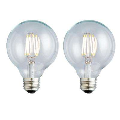 40W Equivalent Warm White G25 Clear Lens Nostalgic Globe Dimmable LED Light Bulb (2-Pack)