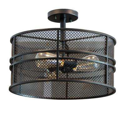 Rixon 3-Light Black Mesh Shade Semi Flushmount