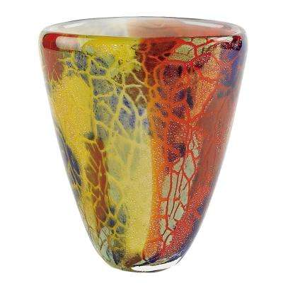 Firestorm 7 in. Mouth Blown Thick Walled Decorative Art Glass Vase