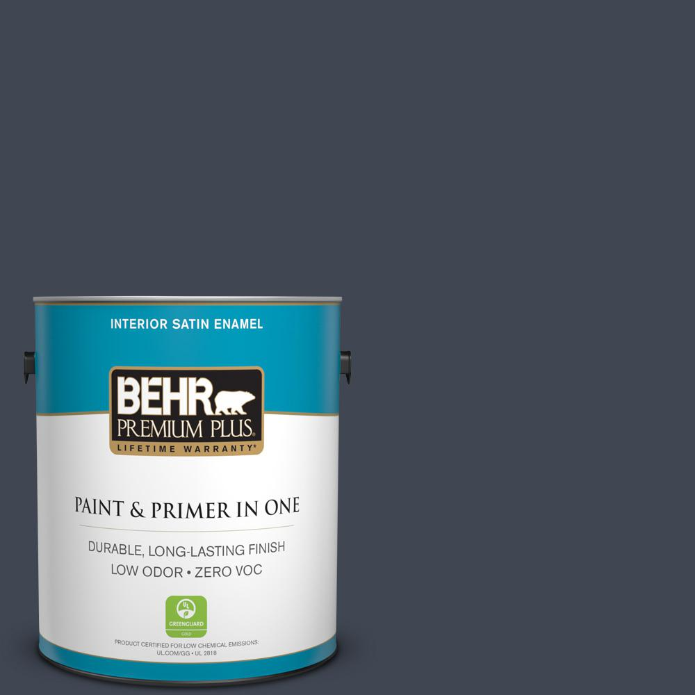 1 gal. #PPU14-20 Starless Night Zero VOC Satin Enamel Interior Paint
