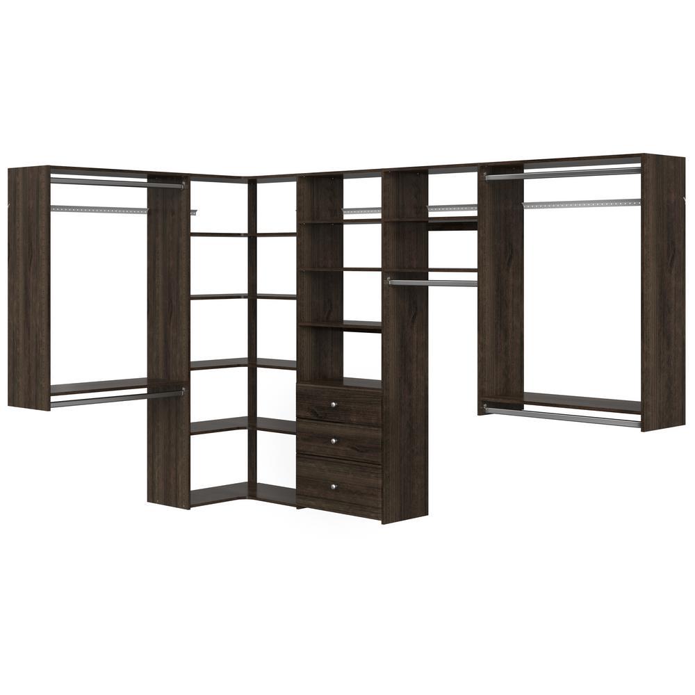 Closet Evolution Ultimate 84 in. W - 115 in. W Espresso Wood Closet Corner System