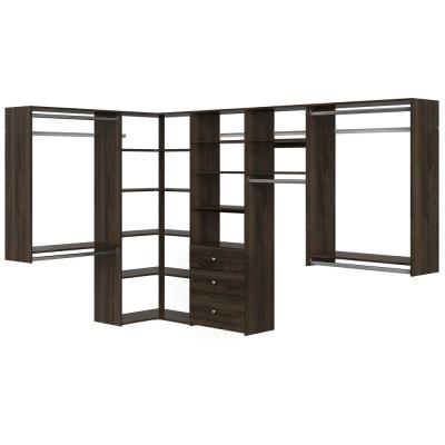 Ultimate 84 in. W - 115 in. W Espresso Wood Closet Corner System