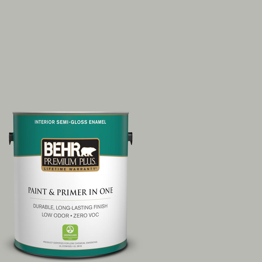 1 gal. #PPU18-11 Classic Silver Zero VOC Semi-Gloss Enamel Interior Paint