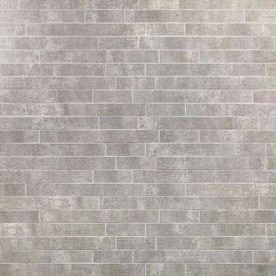 Essential Cement Silver 12 in. x 24 in. 10mm Matte Porcelain Floor and Wall Mosaic Tile (6 pieces / 11.62 sq. ft. / box)