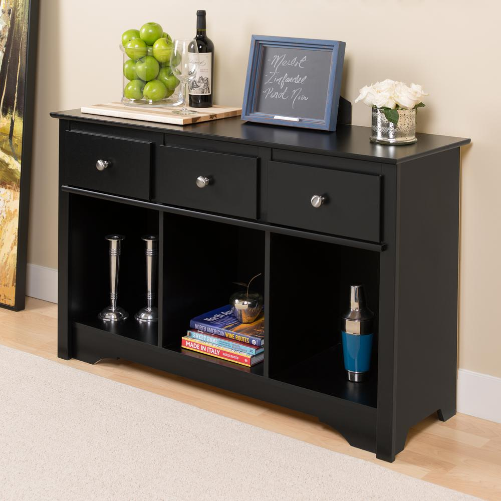 Prepac Sonoma Black Storage Console Table