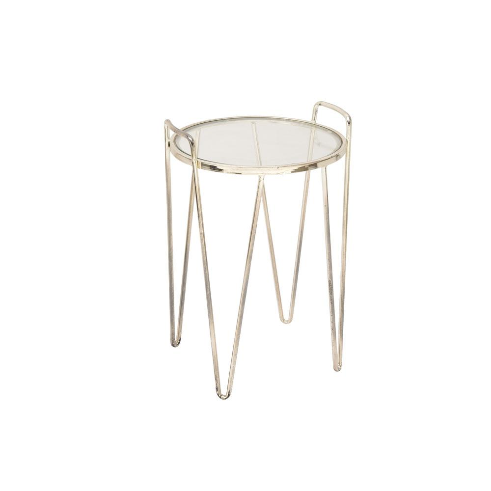 Litton Lane Clear Glass Accent Table With Metallic Silver Tapered And Curved  Legs 54733   The Home Depot