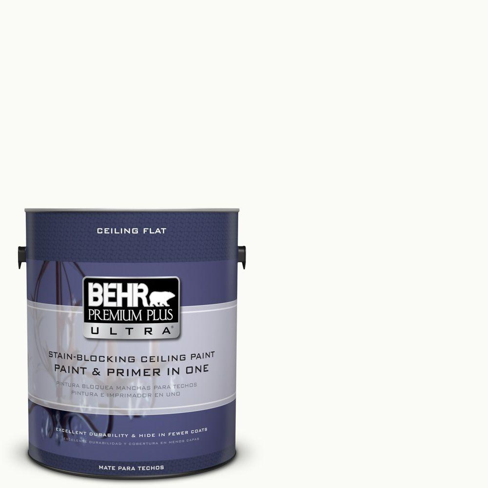 Behr Premium Plus Ultra 1 Gal Ppu18 6 Ceiling Tinted To Pure White Interior Paint And Primer In One 555801 The Home Depot