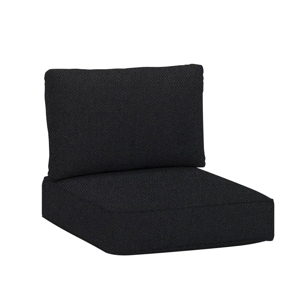 hampton bay Commercial Grade Armless Middle Outdoor Sectional Chair Cushion in Sunbrella Canvas Raven Black