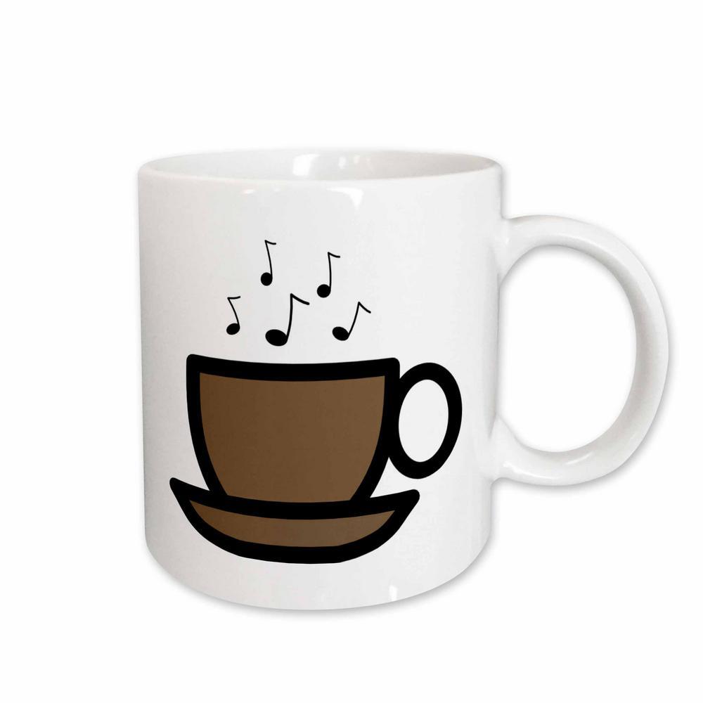 Florene Decorative Brown Coffee Cup with Music Notes 11 oz. White Ceramic Coffee Mug