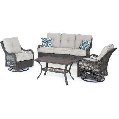 Hanover Orleans 4-Piece Steel Patio Conversation Set with Silver Lining Cushions