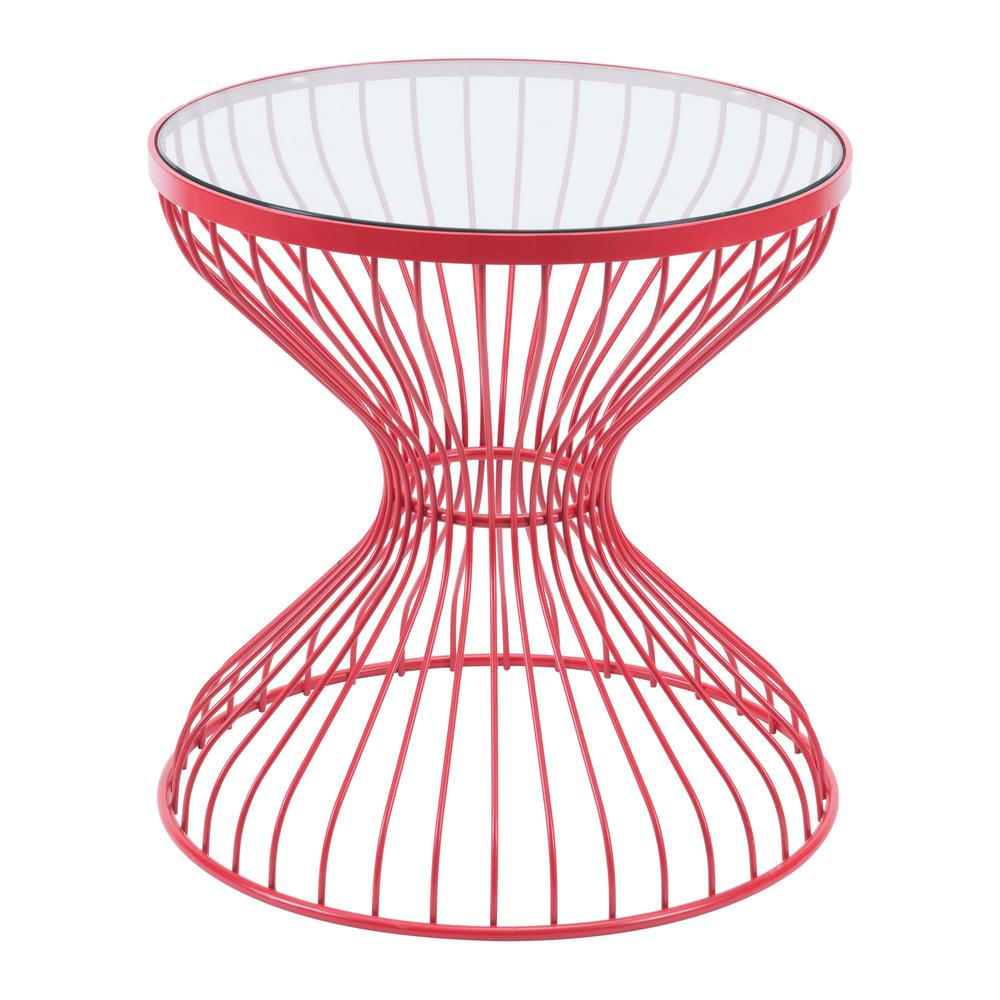 Zuo Rose Red Metal Outdoor Side Table