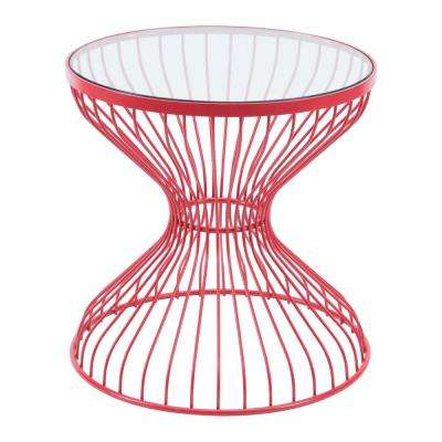 Rose Red Metal Outdoor Side Table