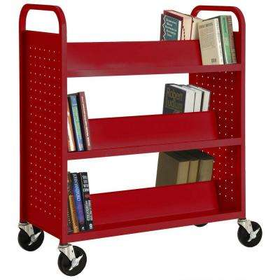 Fire Engine Red Mobile Steel Bookcase