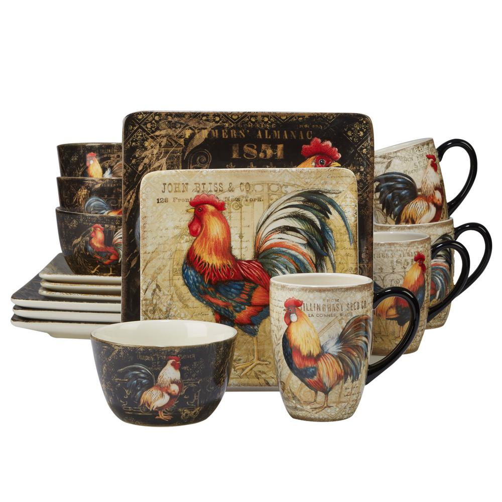 Gilded Rooster 16-Piece Multi-Colored Dinnerware Set