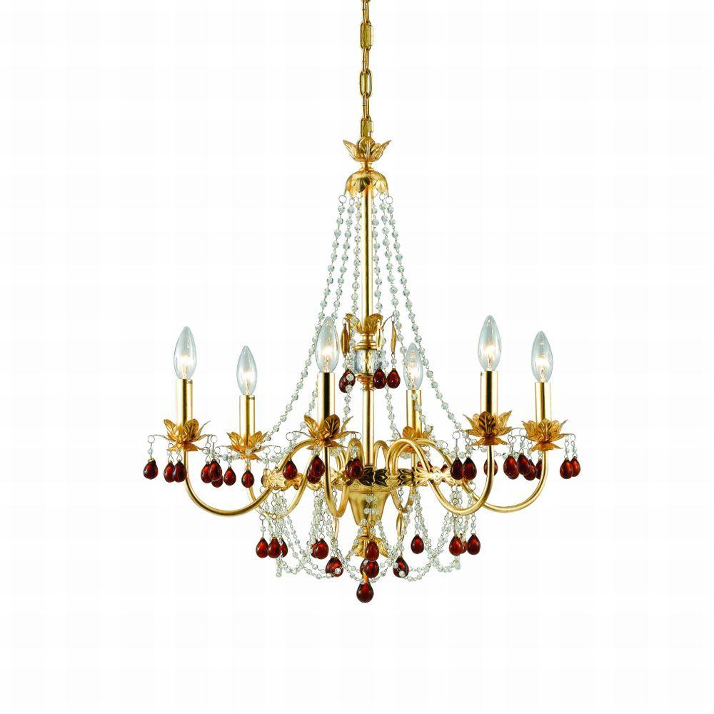 Eurofase Ambroise Collection 6-Light 101-1/8 in. Hanging Gold Chandelier-DISCONTINUED